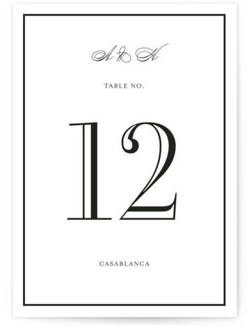 This is a portrait bold and typographic, preppy, black Table Numbers by Toast & Laurel called Hepburn with Standard printing on Signature in Classic fold over (blank inside) format. Table numbers come in a flat or folded format. Select from ...