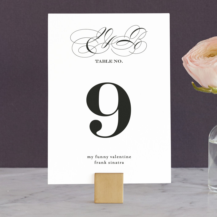 """Timeless Elegance"" - Wedding Table Numbers in Black Night by AK Graphics."