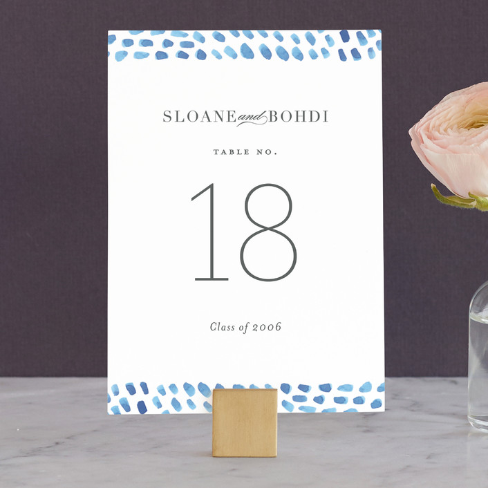 """""""watercolor dashes"""" - Wedding Table Numbers in Ocean Blue by Jennifer Wick."""