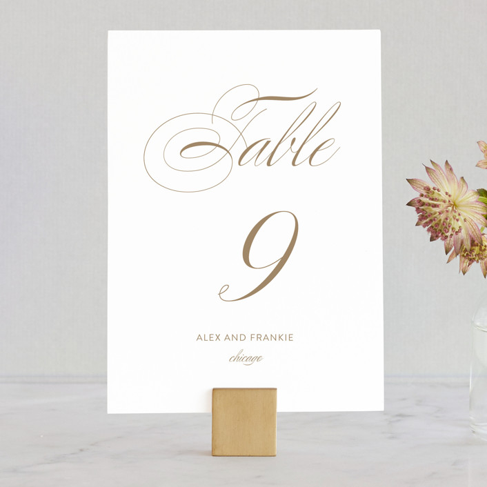 """""""Graceful and Grand"""" - Wedding Table Numbers in Antique Gold by Jennifer Postorino."""