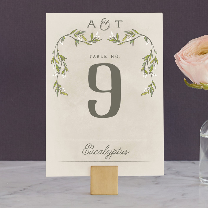 """""""Rustic Love"""" - Wedding Table Numbers in Parchment by GeekInk Design."""