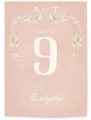 This is a ivory, pink, green Table Numbers by GeekInk Design called Rustic Love with Standard printing on Signature in Classic fold over (blank inside) format. A rustic styled wedding invite featuring a beautiful script font with leaf and branch ...