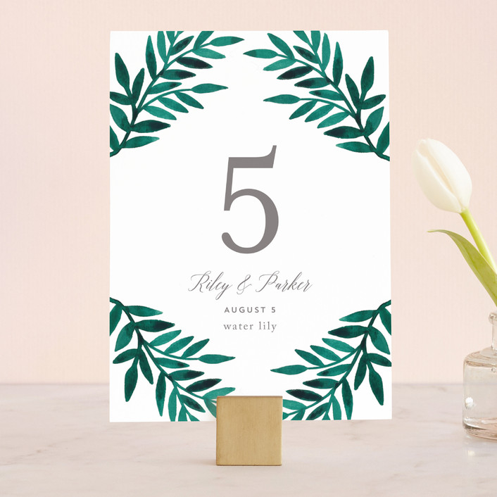 """""""Painted Greenery"""" - Wedding Table Numbers in Evergreen by Katharine Watson."""