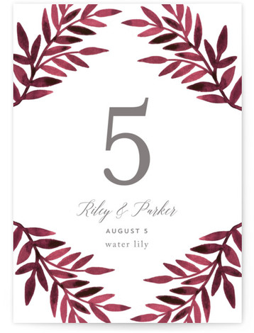 This is a red Table Numbers by Katharine Watson called Painted Greenery with Standard printing on Signature in Classic fold over (blank inside) format. This design uses a watercolor botanical border to create a rustic, unique wedding invitation.