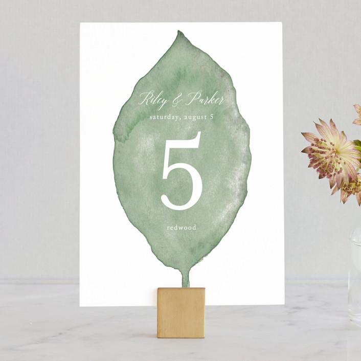 """""""Painted Leaf"""" - Wedding Table Numbers in Leaf by Katharine Watson."""