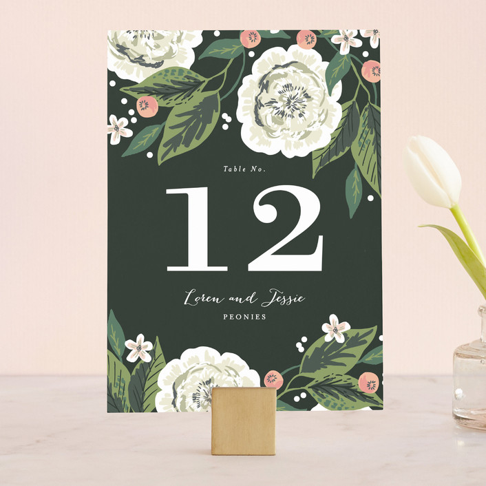 """Climbing Rose"" - Wedding Table Numbers in Leaf by Alethea and Ruth."