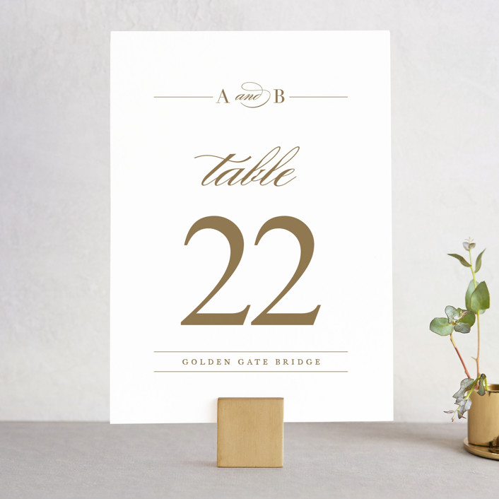 """divine"" - Wedding Table Numbers in Gilded Gold by Jennifer Postorino."
