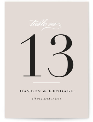This is a beige, black Table Numbers by carly reed walker called Sullavan with Standard printing on Luxe Museum Board in Classic Flat Card format. Table numbers come in a flat or folded format. Select from our Signature, Premium 100% ...