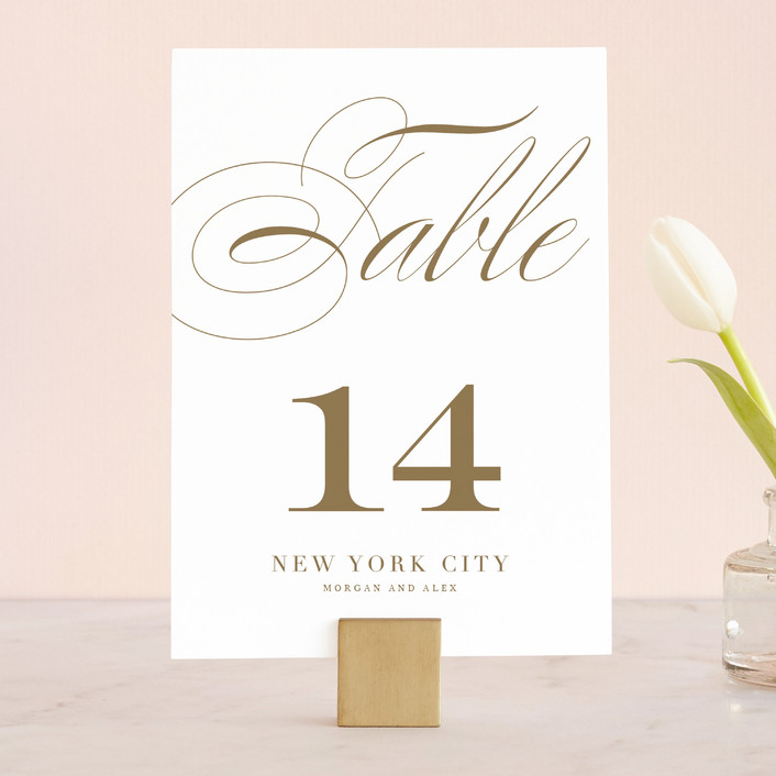 """""""Aqueous"""" - Wedding Table Numbers in Antique Gold by Jennifer Postorino."""