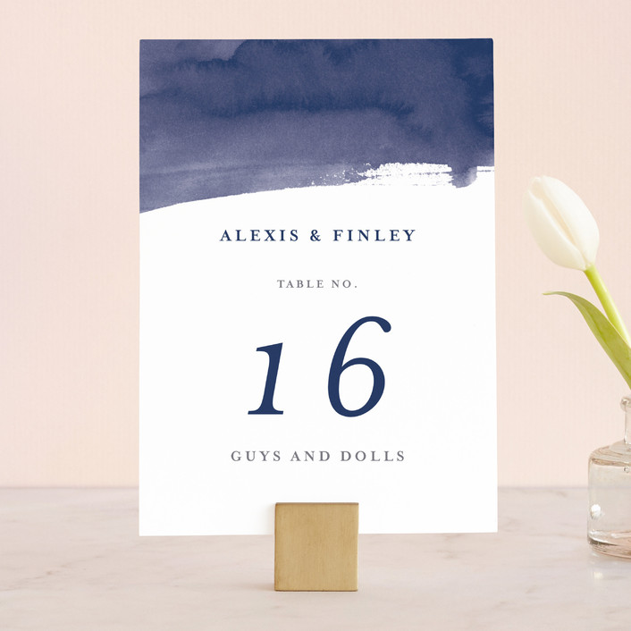 """""""Love"""" - Wedding Table Numbers in Navy by Four Wet Feet Studio."""