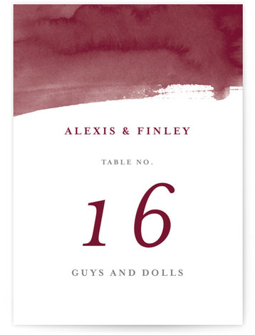 This is a red Table Numbers by Four Wet Feet Studio called Love with Standard printing on Luxe Museum Board in Classic Flat Card format. A wedding invite features watercolor hand lettering.