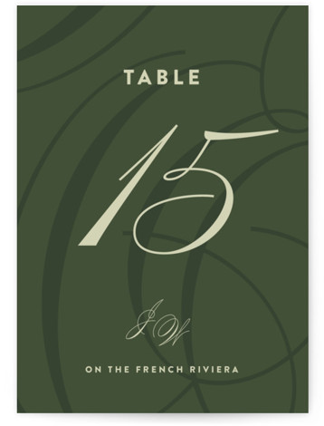 This is a green Table Numbers by Ariel Rutland called Twirl Monogram A with Standard printing on Signature in Classic fold over (blank inside) format. Elegant and swirly initials accent this sophisticated modern invitation