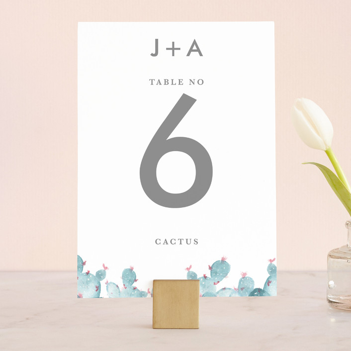 """simple cactus watercolor"" - Wedding Table Numbers in Periwinkle by Ashley Purser."