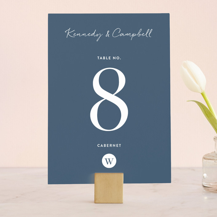 """""""Wedding Stamp"""" - Wedding Table Numbers in Navy by Kasia Labocki."""