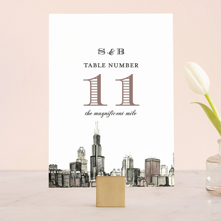 """""""Windy City"""" - Wedding Table Numbers in Antique by Ashley Turner."""
