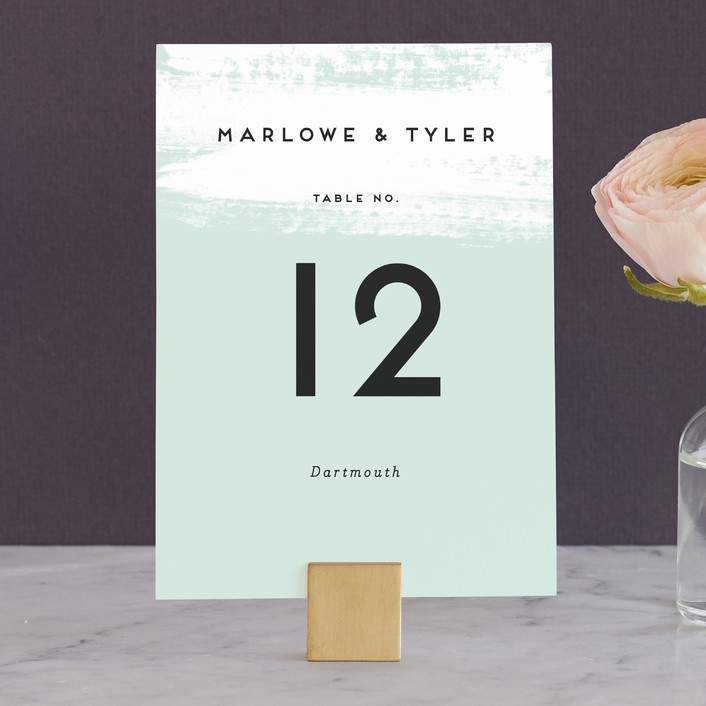 """Museum quality"" - Wedding Table Numbers in Teal by Jennifer Wick."