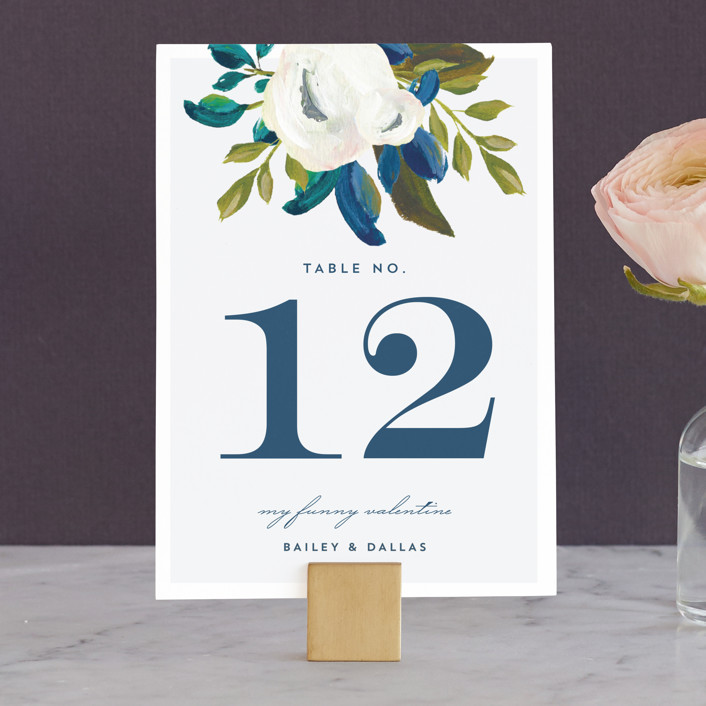 """Our Something Blue"" - Wedding Table Numbers in Ocean by AK Graphics."