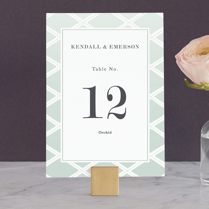 """""""Bold Lattice"""" - Wedding Table Numbers in Mint by Griffinbell Paper Co.."""