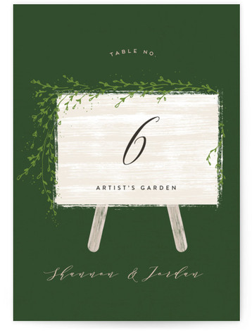 This is a dark green Table Numbers by chocomocacino called winona with Standard printing on Luxe Museum Board in Classic Flat Card format. Wedding invite inspired by welcome sign, rustic and warm