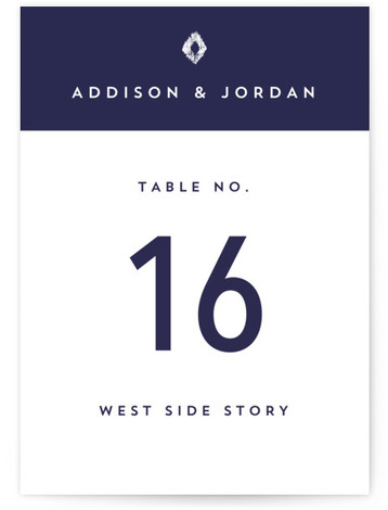 This is a blue Table Numbers by Griffinbell Paper Co. called Elan with Standard printing on Signature in Classic fold over (blank inside) format. Bold stripes create a dramatic and modern mood.