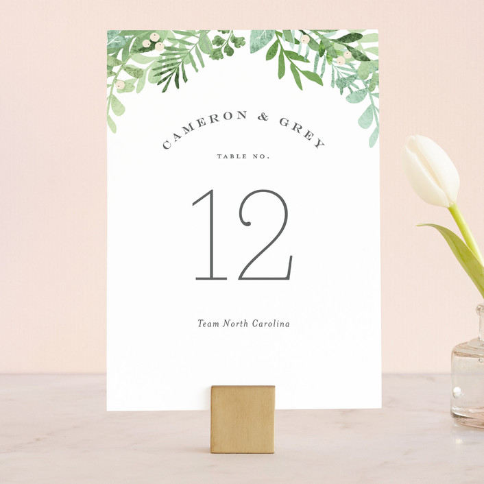 """Leafy ampersand"" - Wedding Table Numbers in Mint Leaf by Jennifer Wick."