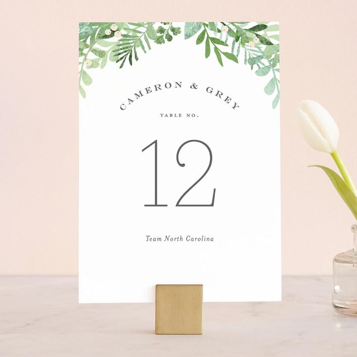 """Leafy ampersand"" - Wedding Table Numbers in Mint Leaf by Jennifer Wick."