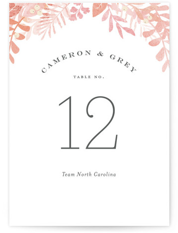 This is a pink Table Numbers by Jennifer Wick called Leafy ampersand with Standard printing on Luxe Museum Board in Classic Flat Card format. A bold ampersand is reversed out of the beautiful greens to create an elegant garden or ...