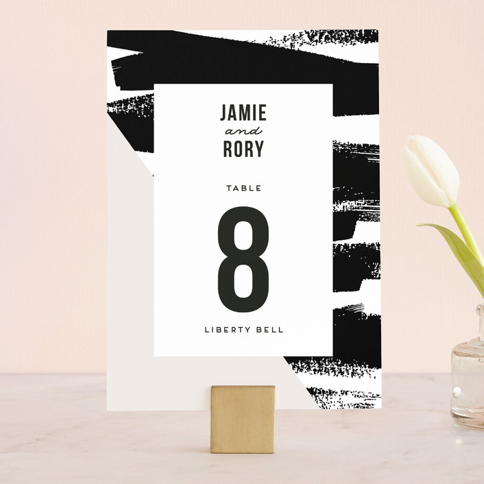 """""""Brushed Stripes"""" - Wedding Table Numbers in Cream by Everett Paper Goods."""