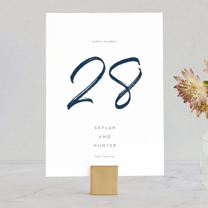 """Funky Names"" - Wedding Table Numbers in Navy by Phrosne Ras."