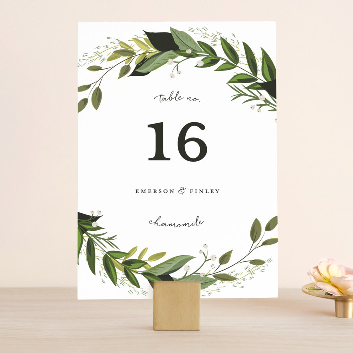 """Vines of Green"" - Wedding Table Numbers in Fern by Susan Moyal."