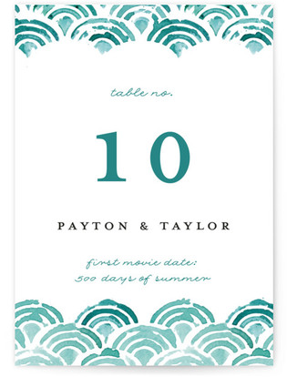 Sea Scallop Table Numbers