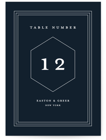 This is a blue Table Numbers by Stacey Meacham called Next Adventure with Standard printing on Luxe Museum Board in Classic Flat Card format. A modern wedding invitation with simple polygon stacked monogram and triple inset frame.