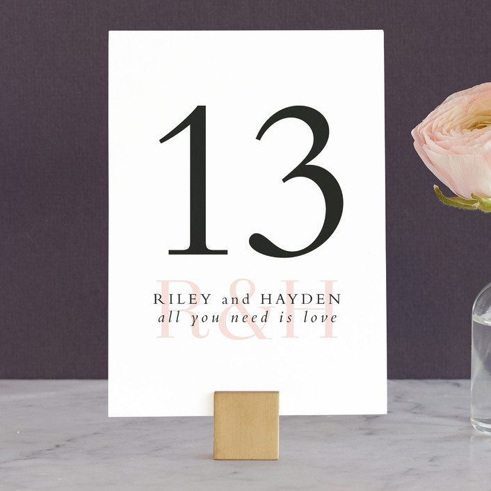 """""""over and over"""" - Wedding Table Numbers in Soft Peach by Lea Delaveris."""