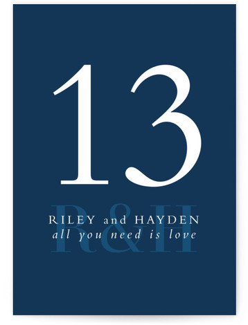 This is a blue Table Numbers by Lea Delaveris called over and over with Standard printing on Luxe Museum Board in Classic Flat Card format. This simple yet elegant design is type driven, featuring the bride's and groom's initials and ...