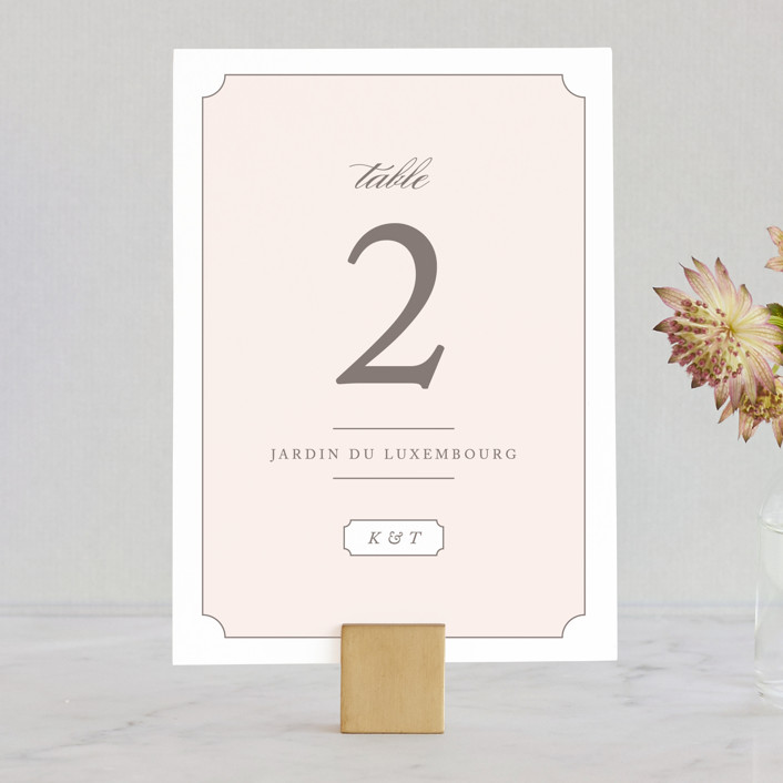 """""""Subtly Sweet"""" - Wedding Table Numbers in Pale Pink by Kimberly FitzSimons."""