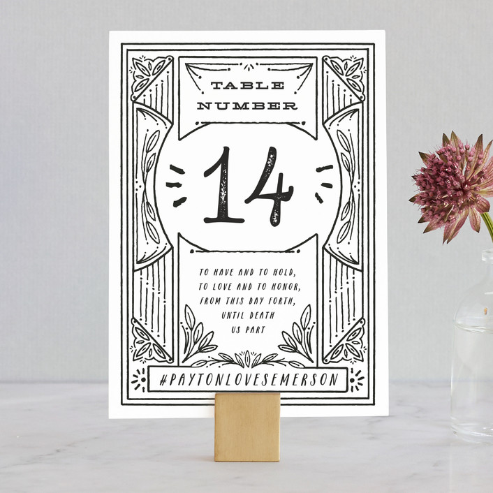 """""""Ink Detailing Frame"""" - Wedding Table Numbers in Ink by Shiny Penny Studio."""