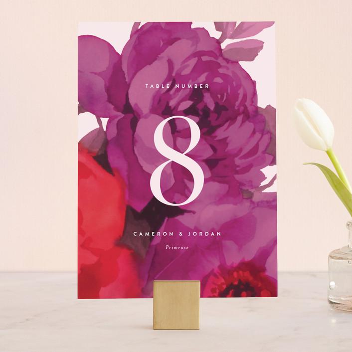 """Centifolia Rose"" - Wedding Table Numbers in Velvet by kelli hall."