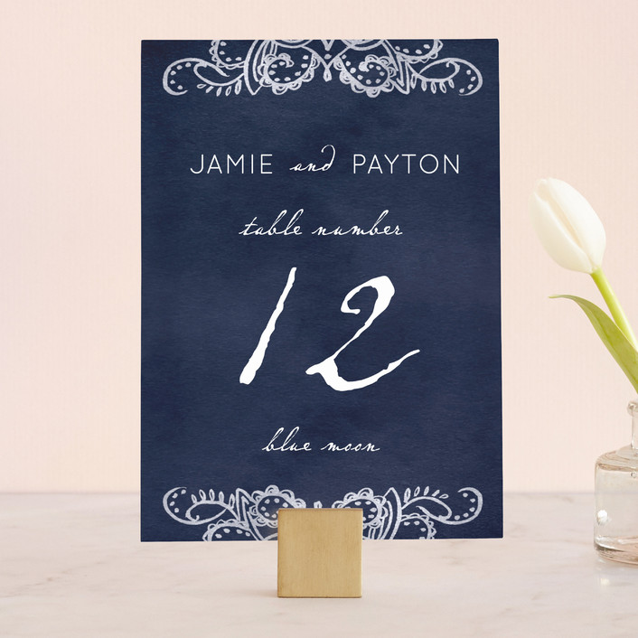 """Indigo Lace"" - Wedding Table Numbers in Cobalt by Krista Messer."