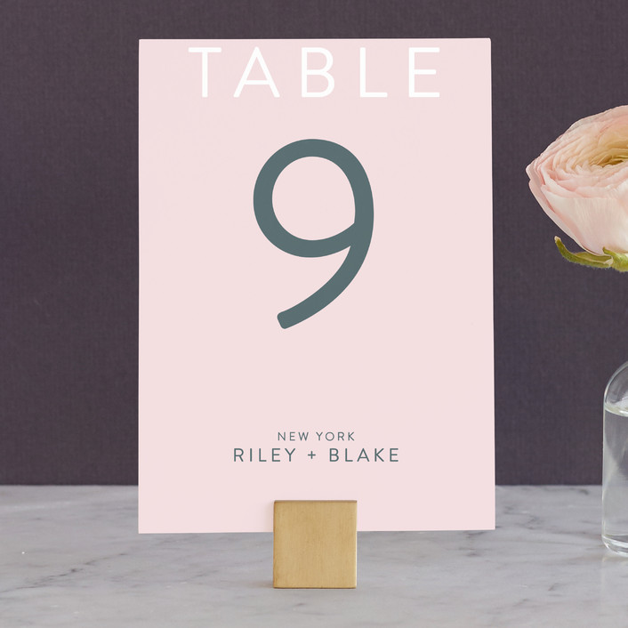 """Minimal Modern"" - Wedding Table Numbers in Cotton Candy by Nikkol Christiansen."