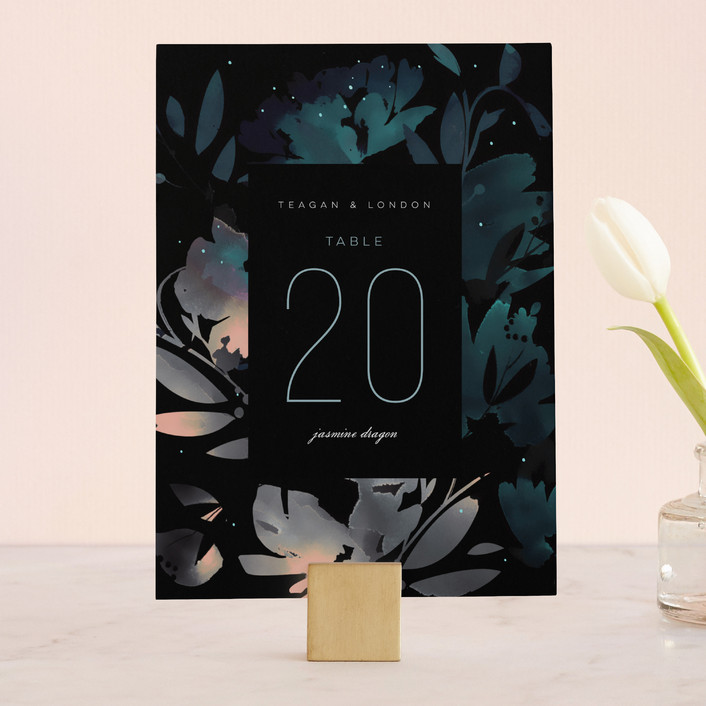 """Midnight Garden"" - Wedding Table Numbers in Midnight by Lori Wemple."