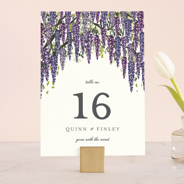 """""""Wisteria Blooms"""" - Wedding Table Numbers in Grape by Susan Moyal."""