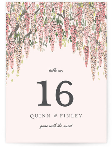 This is a pink Table Numbers by Susan Moyal called Wisteria Blooms with Standard printing on Luxe Museum Board in Classic Flat Card format. Table numbers come in a flat or folded format. Select from our Signature, Premium 100% Recycled, ...
