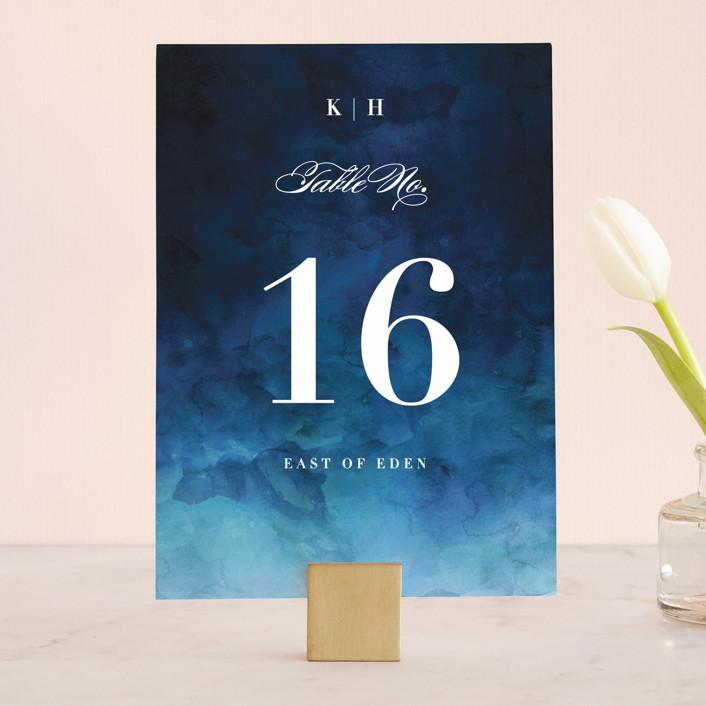 """""""Indigo Sea"""" - Wedding Table Numbers in Ocean by Kelly Schmidt."""