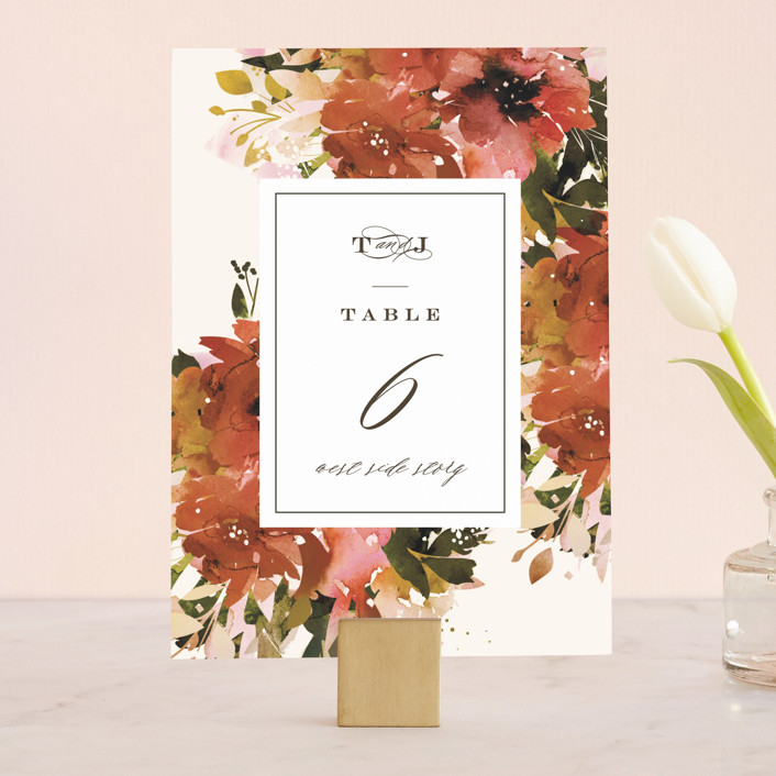 """""""Eden"""" - Wedding Table Numbers in Poinsettia by Lori Wemple."""