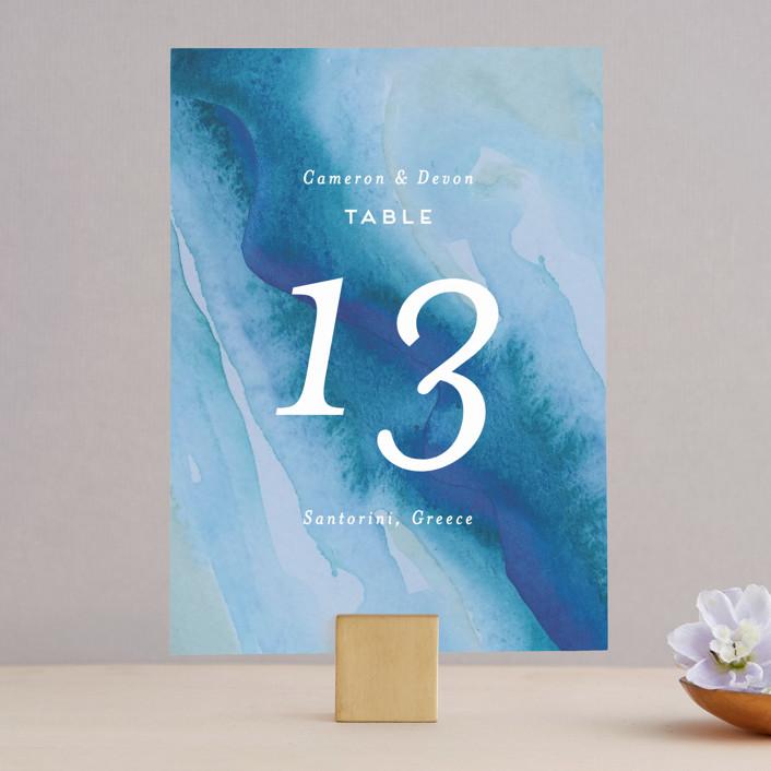 """Tide Pools"" - Modern Wedding Table Numbers in Sea by Krissy Bengtson."