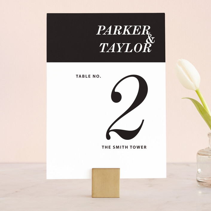 """Slanted"" - Wedding Table Numbers in Noir by Drango Design."