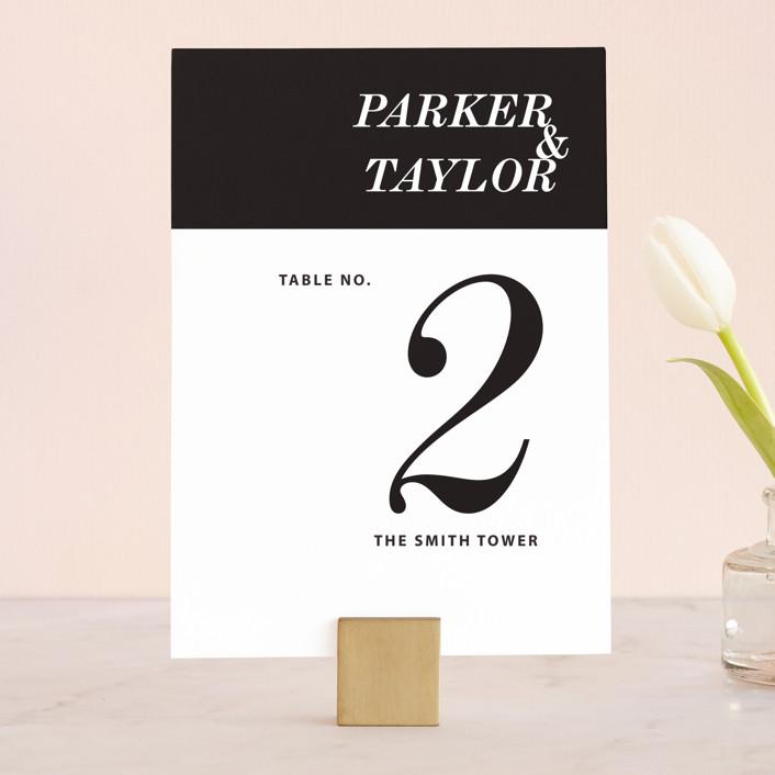 """Slanted"" - Wedding Table Numbers in Noir by Drango Design."