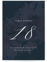 This is a blue table number by Grace Kreinbrink called Dash with standard printing on doublethick in standard.
