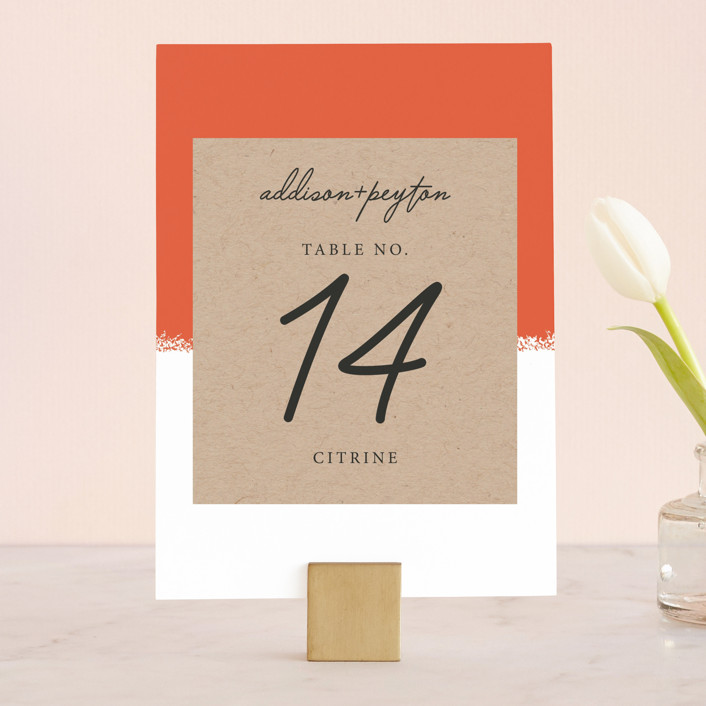 """""""Joyfully Ever After"""" - Modern Wedding Table Numbers in Tangerine by Faiths Designs."""