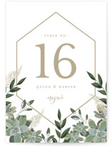 This is a white table number by Susan Moyal called Succulent Surround with standard printing on doublethick in standard.